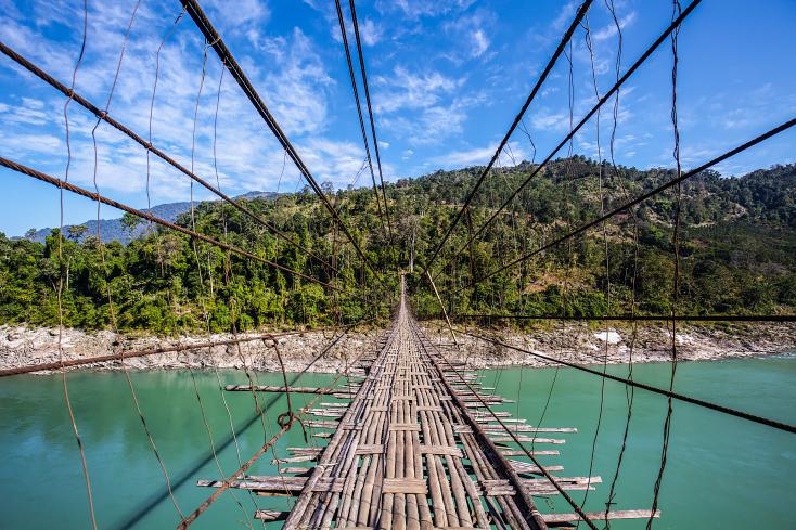 Hängebrücke in Arunachal Pradesh, Indien