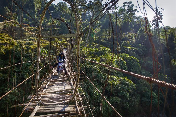Hängebrücke in Arunachal, Indien