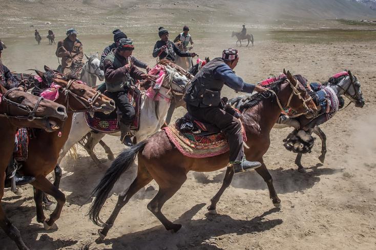Buzkashi, Reiterspiel, kirgisische Hochzeit in Afghanistan, Großer Pamir, Wakhan,